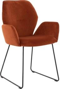 Goossens Eetkamerstoel Hera Sledepoot oranje stof met arm, modern design