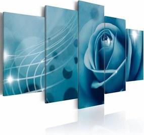 Schilderij - Blauwe schoonheid , roos , 5 luik