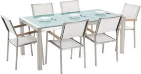Tuinset matglas/RVS driedelig tafelblad 180 x 90 cm met 6 stoelen wit GROSSETO