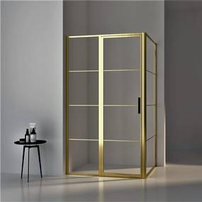 BWS Douchecabine Frame 90x90 cm 8 mm NANO Glas Geborsteld Messing Goud