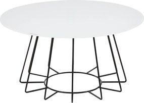 24Designs Salontafel Capri -Ø80 X H40 Cm - Zwart - Wit Glazen Tafelblad