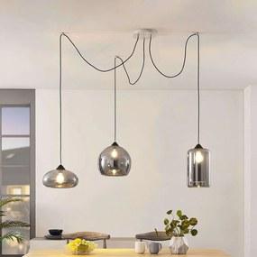 Hanglamp Raquel, 3-lamps, rookglazen kappen