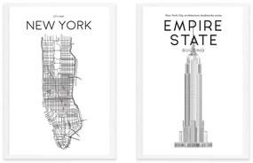 Location & Landmark New York Map, A3, ingelijste print, zwart en wit