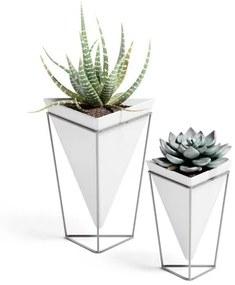 Umbra Trigg plantenhouder 14x16x21cm 2 stuks staand keramiek wit/nikkel 1004372-670
