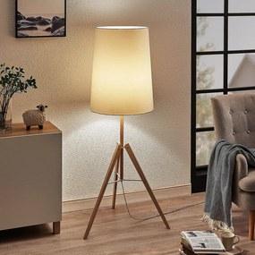 Driebenige stoffen vloerlamp Feyra, rond, wit - lampen-24