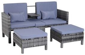 Sunny Tuinbankset lounge 3-delig Tuinset tuinmeubelen met sofa krukje kussens