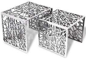Bijzettafels 2 stuks vierkant aluminium zilver