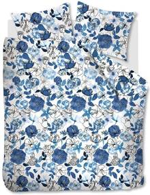 Beddinghouse | Dekbedovertrekset Floral Sketch tweepersoons: breedte 200 cm x lengte 200/220 cm + blauw dekbedovertrekken | NADUVI outlet