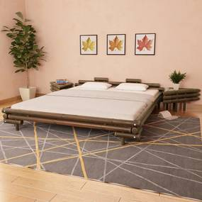 Medina Bed met 2 nachtkastjes bamboe donkerbruin 180x200 cm