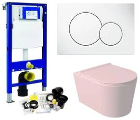 Geberit UP320 Toiletset Set52 Wandcloset Salenzi Civita Mat Roze Sigma Drukplaat