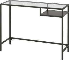 VITTSJÖ Laptoptafel 100x36 cm zwartbruin/glas