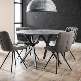 Ronde eettafel Nola 120 cm, 3D-betonlook, kleur grijs