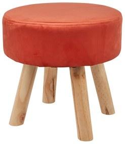 Krukje velvet met houten poten - rood - 35x35 cm