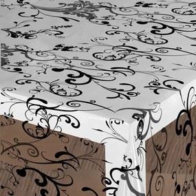 Doorzichtig tafelzeil barok ornamenten zwart 140cm
