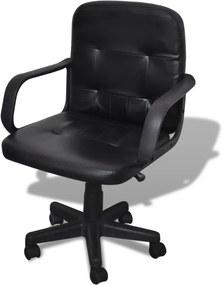 Bureaustoel leer met exclusief design zwart 59 x 51 x 81-89 cm