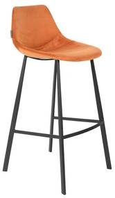 Dutchbone Franky Hoge Fluwelen Barstoel Oranje