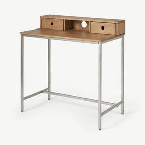 Lomond compact bureau, honinggeel mangohout en geborsteld staal