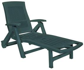 Ligstoel met voetensteun kunststof groen