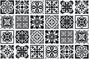 Calli Mediterraanse Tegelsticker - Zwart/Wit - 15x15 cm - 24 stuks