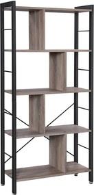 Nancy's Steve 2 Boekenkast - Boekenkasten - Industrieel - Hout - IJzeren Frame - Grijs/Zwart - 74 x 30 x 154,5 cm (L x B x H)