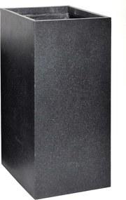 Bloempot Pot kubus hoog granito b28h60 zwart Mcollections