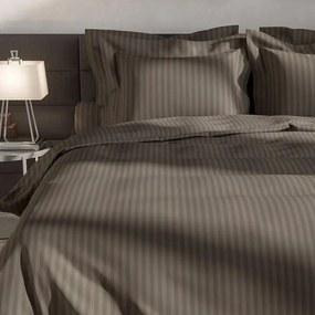 Heckett Lane Uni Stripe - Bruin 1-persoons (140 x 200/220 cm + 1 kussensloop) Dekbedovertrek