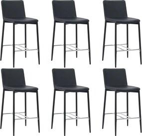 Barstoelen 6 st kunstleer zwart