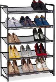 Schoenenrek zwart metaal - 5 verstelbare etages - 15 paar schoenen