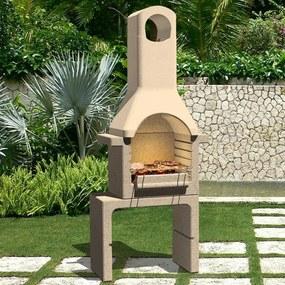 Houtskoolbarbecue met schoorsteen beton