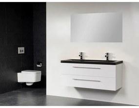 Saniclass Exclusive line Corestone 120 badmeubel hoogglans wit 2 laden 2 kraangaten met spiegel SW21655