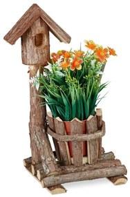 Bloempot hout - met vogelhuis - houten sierpot - plantenpot - binnenpot - boom