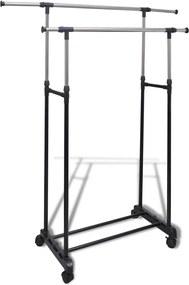 Kledingrek verstelbaar met 4 wieltjes en 2 ophangrails