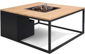 Cosi Fires Cosiloft lounge vuurtafel 100 cm zwart - teak top