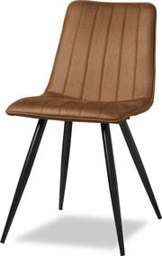 Sense' Living | Eetkamerstoel Jamy - totaal: breedte 43 cm x hoogte 86 cm- cognac eetkamerstoelen microvezel stoelen & fauteuils | NADUVI outlet