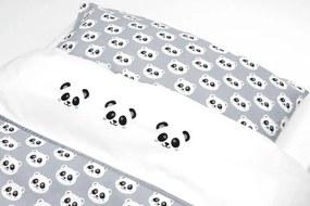 Dekbedovertrek voor ledikant - Panda Grijs in de maat 120x150 - Beddengoed