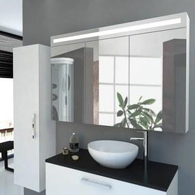 Spiegelkast Callisto 120x80x14cm MDF Hoogglans Wit Geintegreerde LED Verlichting MDF Planken