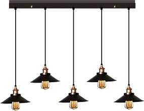 Industrieel Design Hanglamp 5 Kappen Zwart