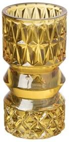 Theelichthouder zandloper groot - okergeel - ⌀7x13,7 cm
