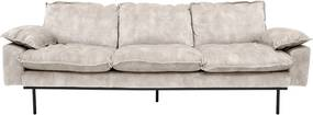 HKliving Retro Sofa Fluwelen Retro Bank Wit 3-zits