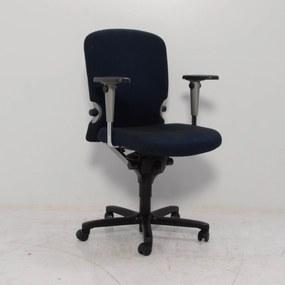 Bureaustoel Comforto 77, donkerblauw geblokt, 3D armleggers