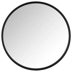 Spiegel rond met metalen lijst - zwart - ø50 cm
