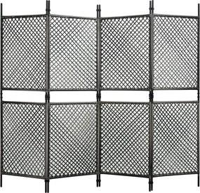 Kamerscherm met 4 panelen 240x200 cm poly rattan antraciet