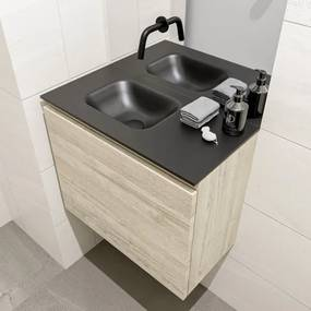 MONDIAZ OLAN Toiletmeubel 60x30x40cm met 0 kraangaten 1 lades light brown grey mat Wastafel Lex links Solid Surface Zwart FK75343080