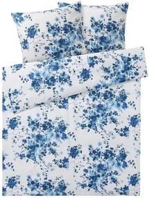 Draaibaar dekbedovertrek 240 x 220 cm Bloemen/wit/blauw