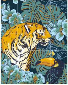 IXXI Tiger Jungle & Toucan Family wanddecoratie - dubbelzijdig