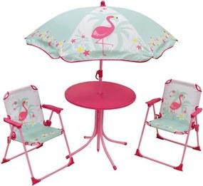 Tuinset met parasol Flamingo roze/mintgroen 4-delig
