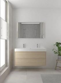 Box badmeubelset 120 cm enkele waskom | spiegel- natuur eiken