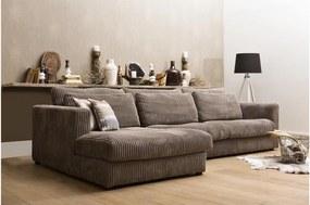 Goossens Bank Ravenia Met Chaise Longue bruin, stof, 2,5-zits, stijlvol landelijk met chaise longue links