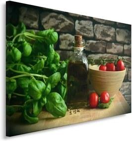 Schilderij - Olijfolie, basilicum en tomaten
