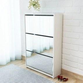 Schoenenkast drielaags met spiegel 63x17x102,5 cm wit